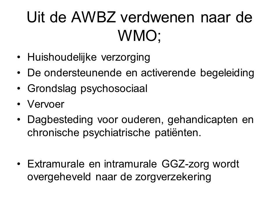 Subsidieregelingen naar de WMO Diensten bij wonen met zorg MEE-organisaties Aanpassen ADL-woningen Zorgvernieuwing GGZ Begeleiding Maatschappelijk Opvang Coördinatie vrijwillige thuiszorg en mantelzorg