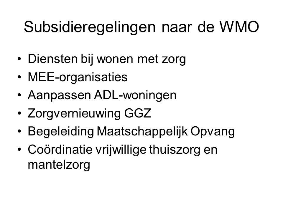 Subsidieregelingen naar de WMO Diensten bij wonen met zorg MEE-organisaties Aanpassen ADL-woningen Zorgvernieuwing GGZ Begeleiding Maatschappelijk Opv