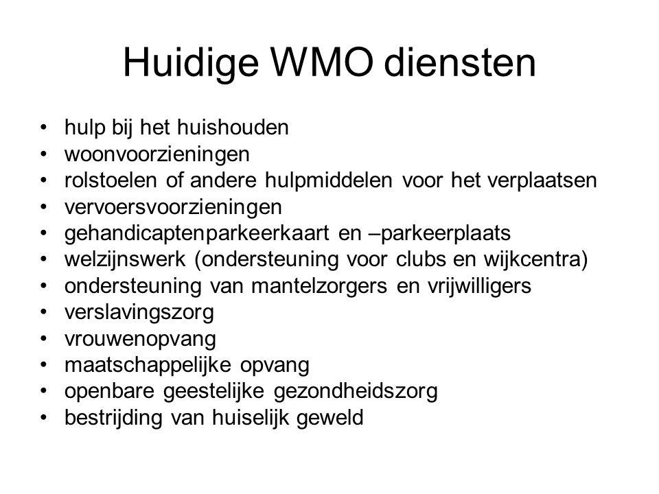 Huidige WMO diensten hulp bij het huishouden woonvoorzieningen rolstoelen of andere hulpmiddelen voor het verplaatsen vervoersvoorzieningen gehandicap