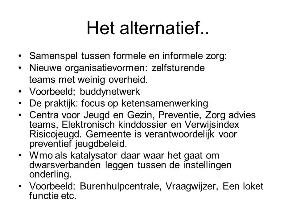 Het alternatief.. Samenspel tussen formele en informele zorg: Nieuwe organisatievormen: zelfsturende teams met weinig overheid. Voorbeeld; buddynetwer