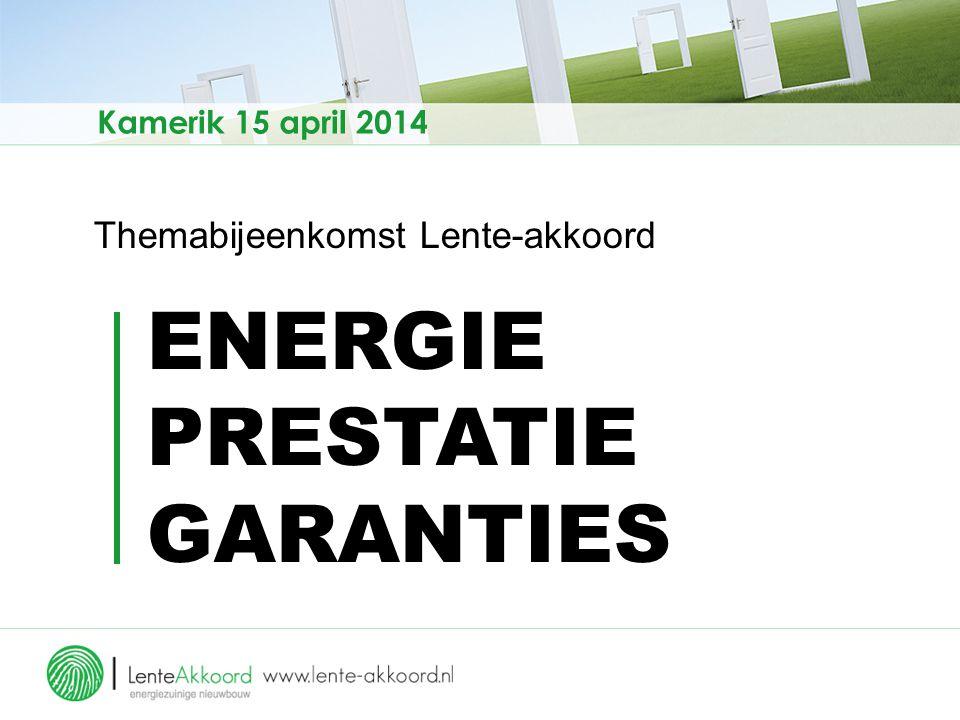 Themabijeenkomst Lente-akkoord ENERGIE PRESTATIE GARANTIES Kamerik 15 april 2014