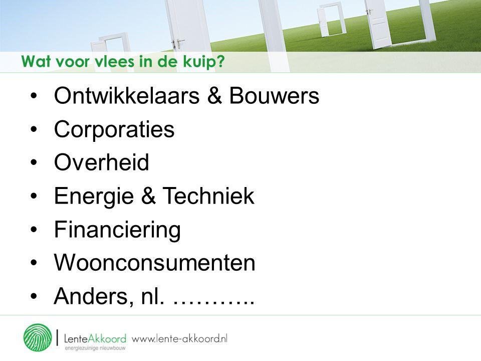 Ontwikkelaars & Bouwers Corporaties Overheid Energie & Techniek Financiering Woonconsumenten Anders, nl.