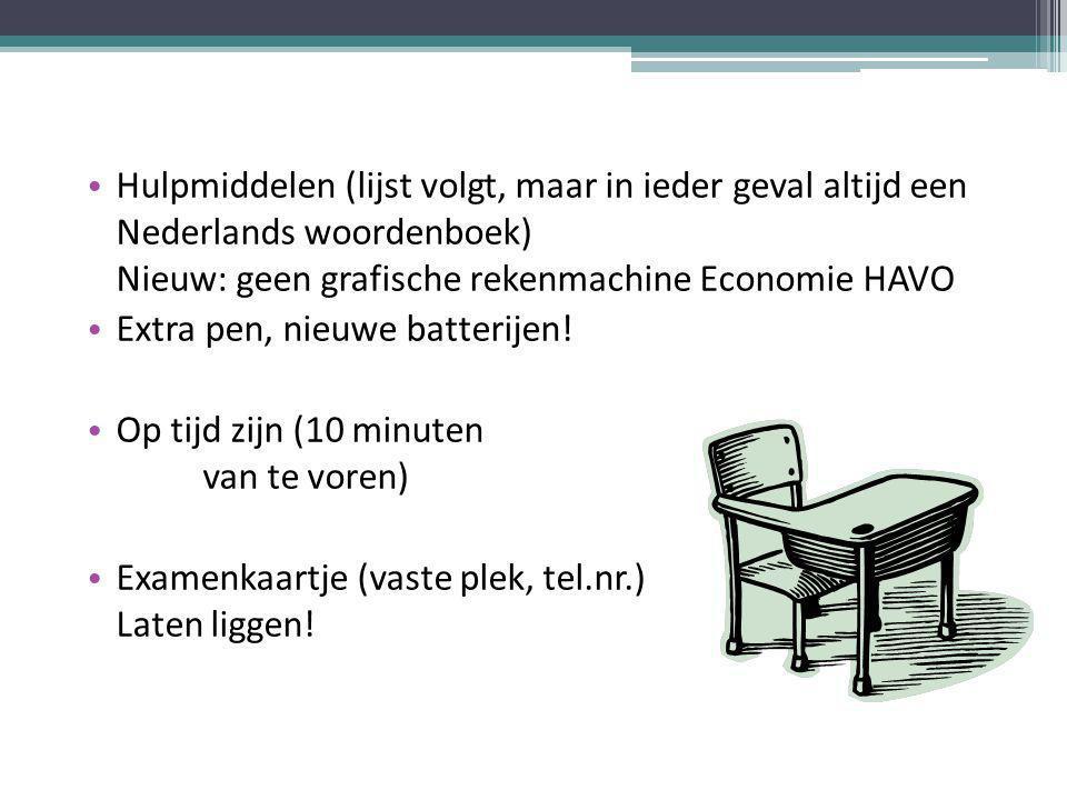 Hulpmiddelen (lijst volgt, maar in ieder geval altijd een Nederlands woordenboek) Nieuw: geen grafische rekenmachine Economie HAVO Extra pen, nieuwe batterijen.
