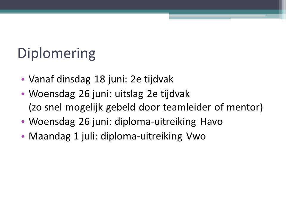 Diplomering Vanaf dinsdag 18 juni: 2e tijdvak Woensdag 26 juni: uitslag 2e tijdvak (zo snel mogelijk gebeld door teamleider of mentor) Woensdag 26 juni: diploma-uitreiking Havo Maandag 1 juli: diploma-uitreiking Vwo