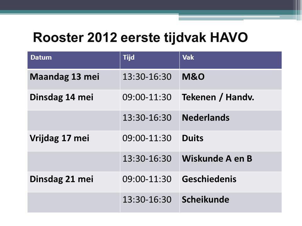 Rooster 2012 eerste tijdvak HAVO DatumTijdVak Maandag 13 mei13:30-16:30M&O Dinsdag 14 mei09:00-11:30Tekenen / Handv.