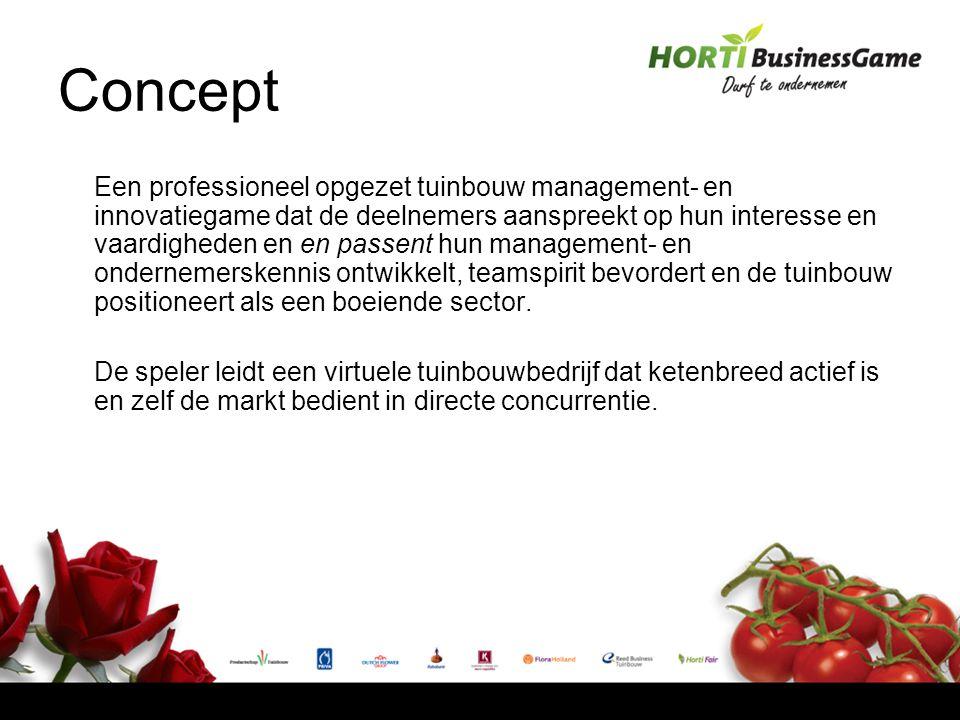 Concept Een professioneel opgezet tuinbouw management- en innovatiegame dat de deelnemers aanspreekt op hun interesse en vaardigheden en en passent hun management- en ondernemerskennis ontwikkelt, teamspirit bevordert en de tuinbouw positioneert als een boeiende sector.
