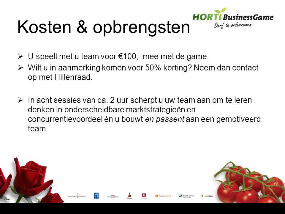 Kosten & opbrengsten  U speelt met u team voor €100,- mee met de game.