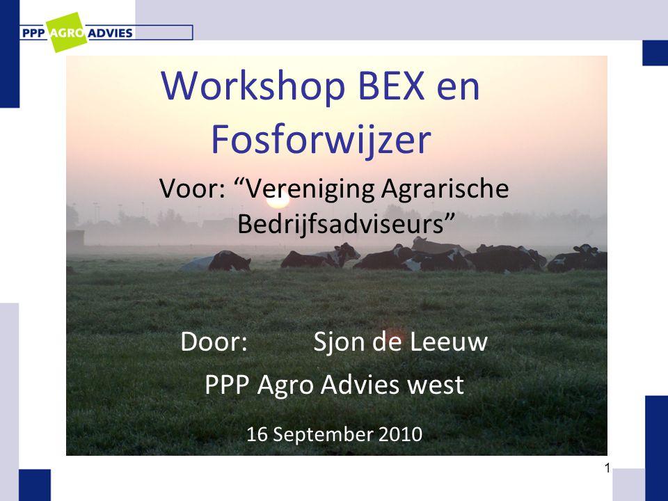 1 Workshop BEX en Fosforwijzer Voor: Vereniging Agrarische Bedrijfsadviseurs Door:Sjon de Leeuw PPP Agro Advies west 16 September 2010