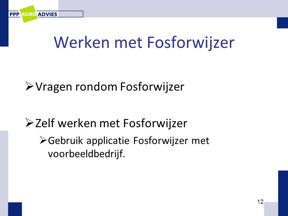 Werken met Fosforwijzer  Vragen rondom Fosforwijzer  Zelf werken met Fosforwijzer  Gebruik applicatie Fosforwijzer met voorbeeldbedrijf. 12