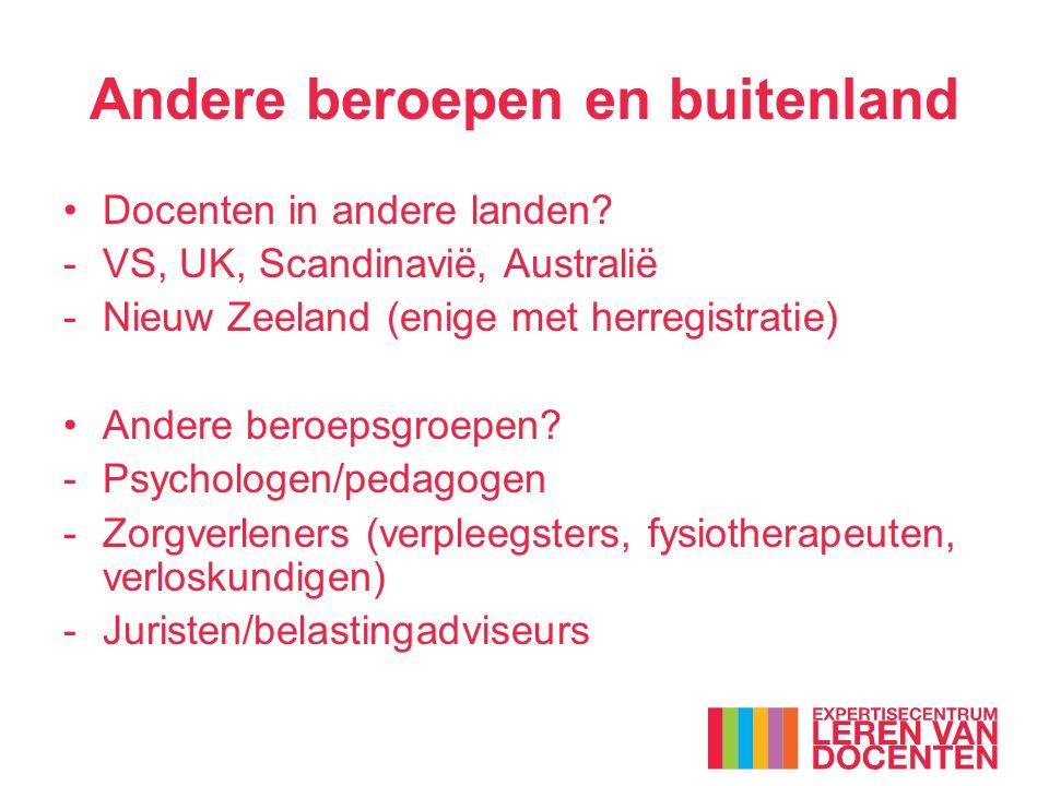 Docenten in andere landen? -VS, UK, Scandinavië, Australië -Nieuw Zeeland (enige met herregistratie) Andere beroepsgroepen? -Psychologen/pedagogen -Zo