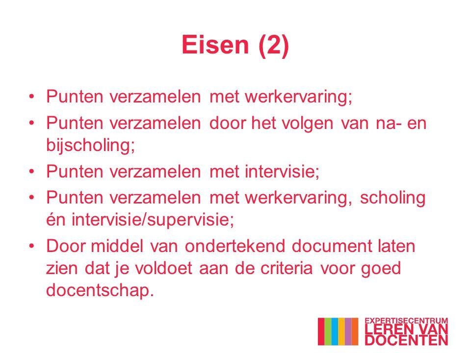 Eisen (2) Punten verzamelen met werkervaring; Punten verzamelen door het volgen van na- en bijscholing; Punten verzamelen met intervisie; Punten verza
