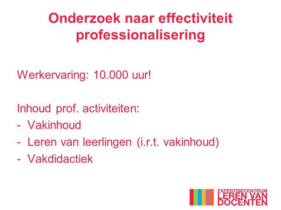 Werkervaring: 10.000 uur! Inhoud prof. activiteiten: - Vakinhoud -Leren van leerlingen (i.r.t. vakinhoud) -Vakdidactiek