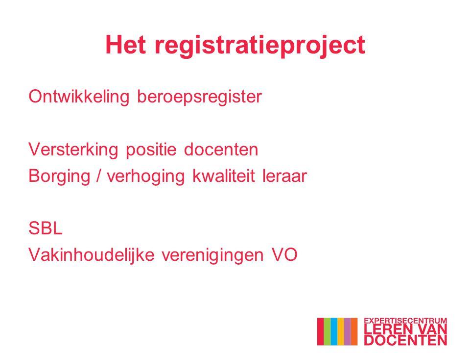Het registratieproject Ontwikkeling beroepsregister Versterking positie docenten Borging / verhoging kwaliteit leraar SBL Vakinhoudelijke verenigingen