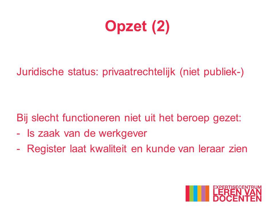 Opzet (2) Juridische status: privaatrechtelijk (niet publiek-) Bij slecht functioneren niet uit het beroep gezet: -Is zaak van de werkgever -Register