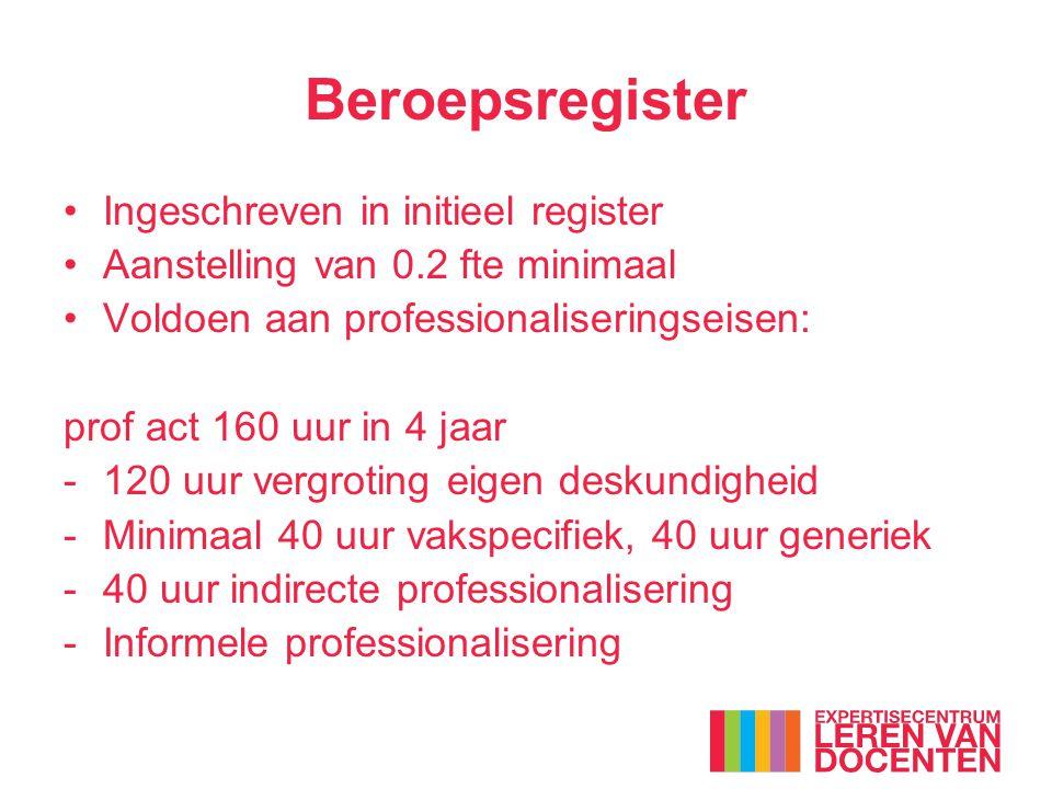 Beroepsregister Ingeschreven in initieel register Aanstelling van 0.2 fte minimaal Voldoen aan professionaliseringseisen: prof act 160 uur in 4 jaar -