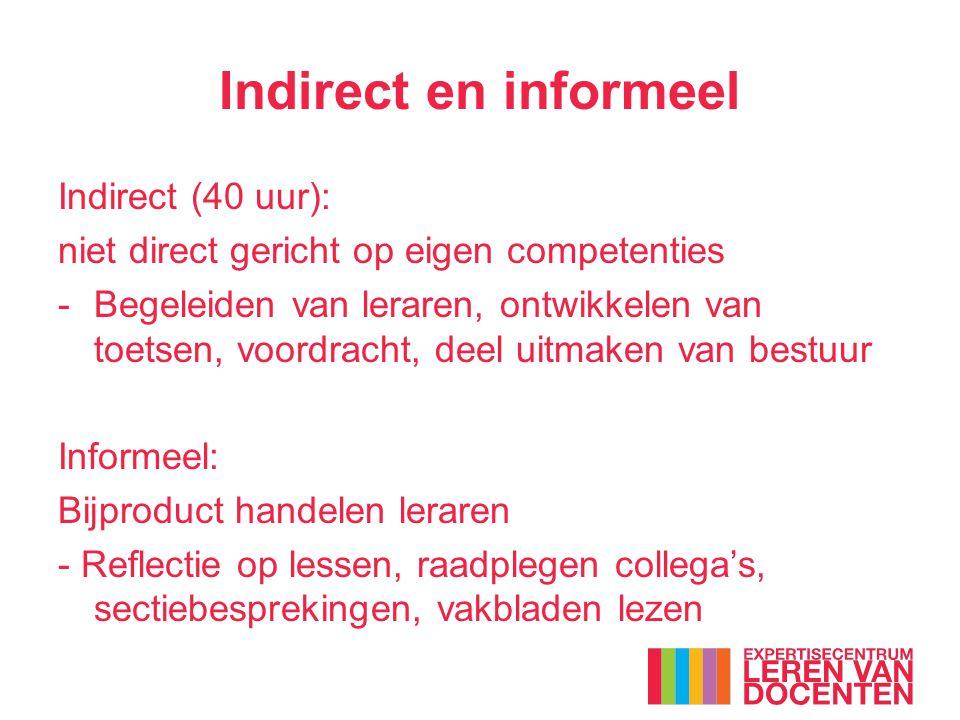 Indirect en informeel Indirect (40 uur): niet direct gericht op eigen competenties -Begeleiden van leraren, ontwikkelen van toetsen, voordracht, deel