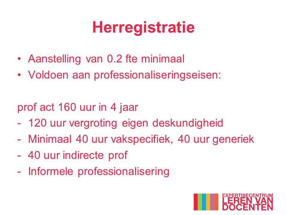 Herregistratie Aanstelling van 0.2 fte minimaal Voldoen aan professionaliseringseisen: prof act 160 uur in 4 jaar -120 uur vergroting eigen deskundigh