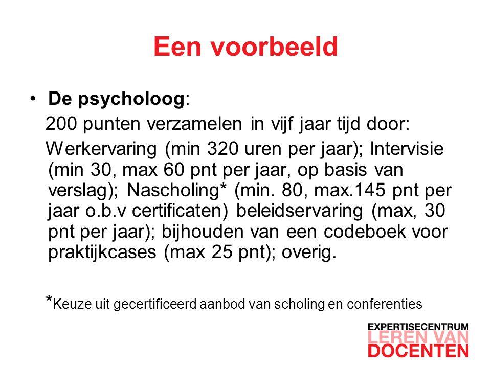 Een voorbeeld De psycholoog: 200 punten verzamelen in vijf jaar tijd door: Werkervaring (min 320 uren per jaar); Intervisie (min 30, max 60 pnt per jaar, op basis van verslag); Nascholing* (min.