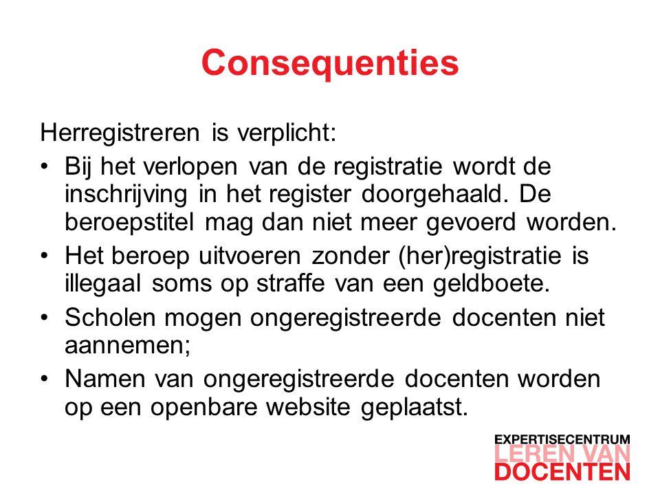 Consequenties Herregistreren is verplicht: Bij het verlopen van de registratie wordt de inschrijving in het register doorgehaald.