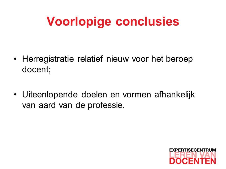 Voorlopige conclusies Herregistratie relatief nieuw voor het beroep docent; Uiteenlopende doelen en vormen afhankelijk van aard van de professie.