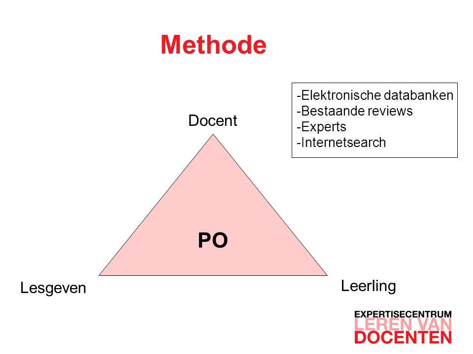 Methode PO Docent Lesgeven Leerling -Elektronische databanken -Bestaande reviews -Experts -Internetsearch