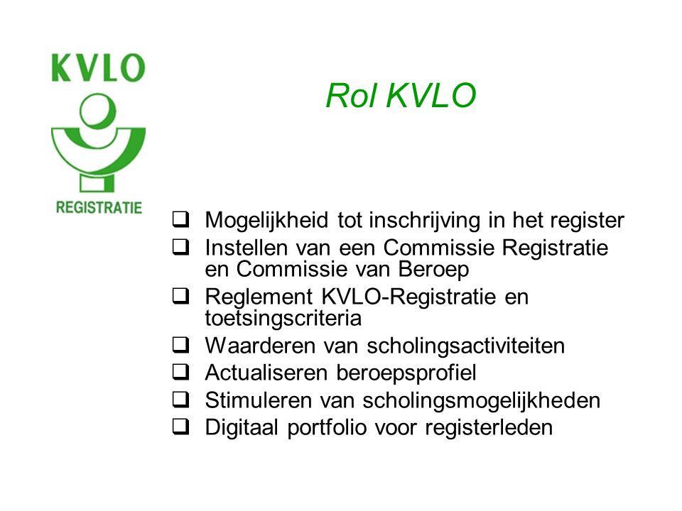 Rol KVLO  Mogelijkheid tot inschrijving in het register  Instellen van een Commissie Registratie en Commissie van Beroep  Reglement KVLO-Registratie en toetsingscriteria  Waarderen van scholingsactiviteiten  Actualiseren beroepsprofiel  Stimuleren van scholingsmogelijkheden  Digitaal portfolio voor registerleden