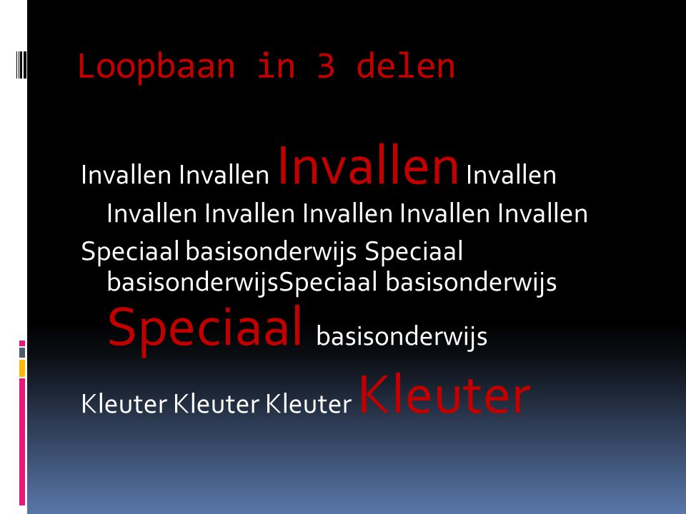 Loopbaan in 3 delen Invallen Invallen Invallen Invallen Invallen Invallen Invallen Invallen Invallen Speciaal basisonderwijs Speciaal basisonderwijsSpeciaal basisonderwijs Speciaal basisonderwijs Kleuter Kleuter
