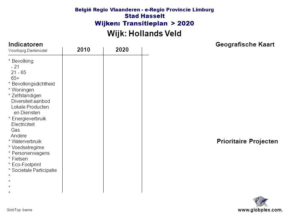 België Regio Vlaanderen - e-Regio Provincie Limburg Stad Hasselt Wijken: Transitieplan > 2020 Wijk: Hollands Veld www.globplex.com.