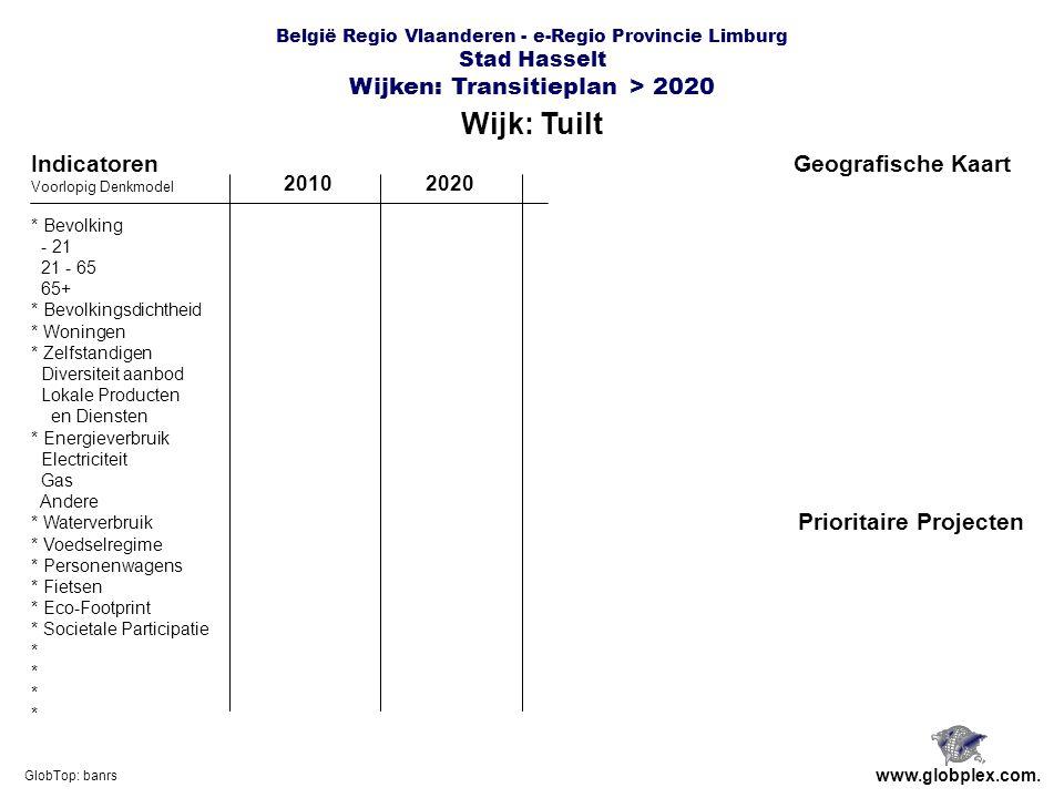 België Regio Vlaanderen - e-Regio Provincie Limburg Stad Hasselt Wijken: Transitieplan > 2020 Wijk: Tuilt www.globplex.com.