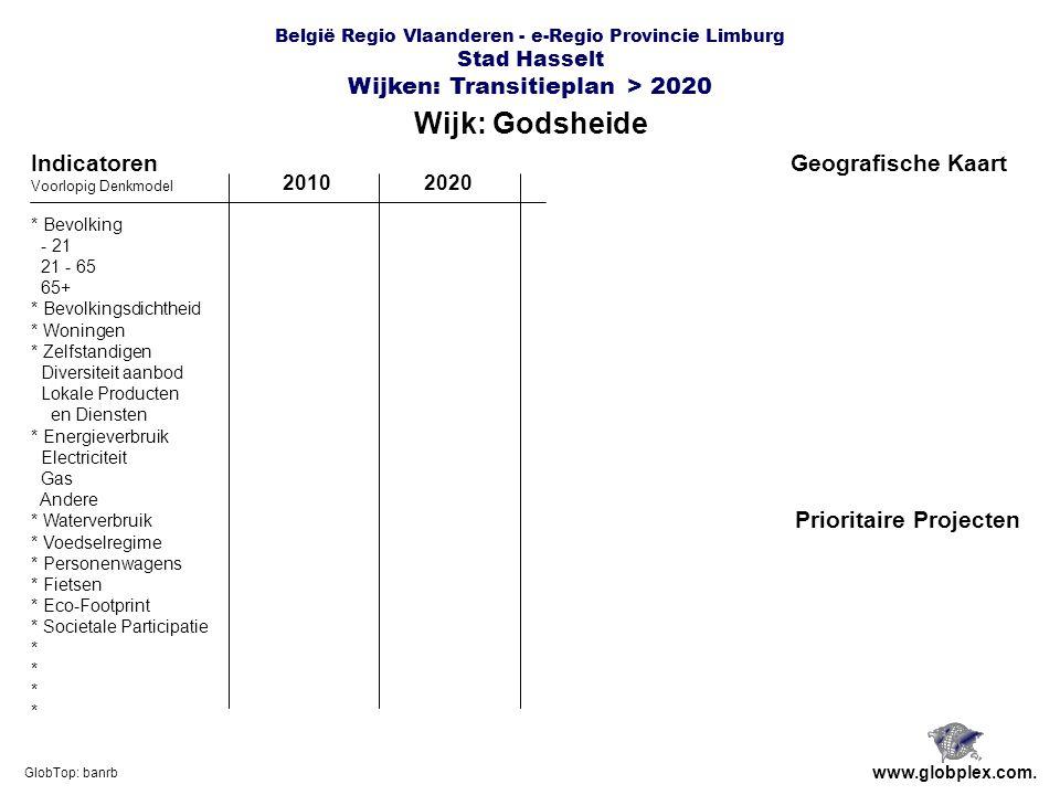 België Regio Vlaanderen - e-Regio Provincie Limburg Stad Hasselt Wijken: Transitieplan > 2020 Wijk: Godsheide www.globplex.com.