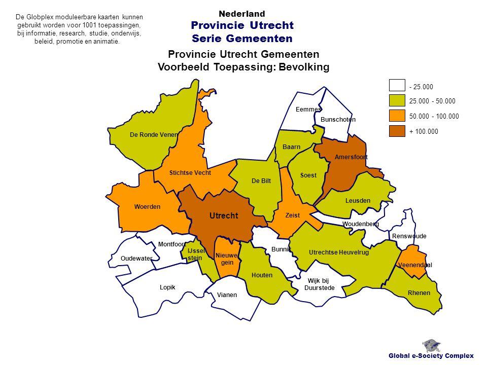 Provincie Utrecht Gemeenten Voorbeeld Toepassing: Bevolking Global e-Society Complex Nederland Provincie Utrecht Serie Gemeenten Lopik Oudewater Montf