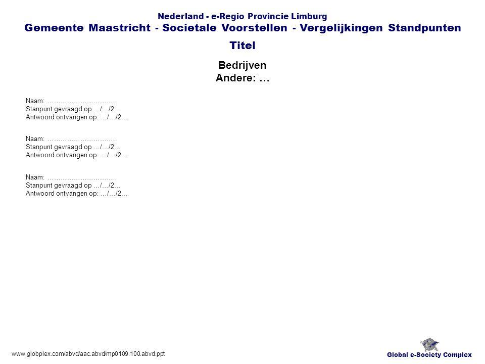 Global e-Society Complex Nederland - e-Regio Provincie Limburg Gemeente Maastricht - Societale Voorstellen - Vergelijkingen Standpunten Bedrijven Andere: … Titel www.globplex.com/abvd/aac.abvd/mp0109.100.abvd.ppt Naam: …………………………..