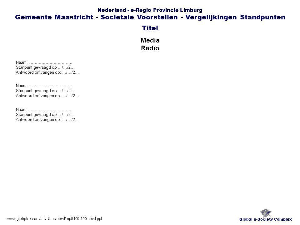 Global e-Society Complex Nederland - e-Regio Provincie Limburg Gemeente Maastricht - Societale Voorstellen - Vergelijkingen Standpunten Media Radio Titel www.globplex.com/abvd/aac.abvd/mp0109.100.abvd.ppt Naam: …………………………..