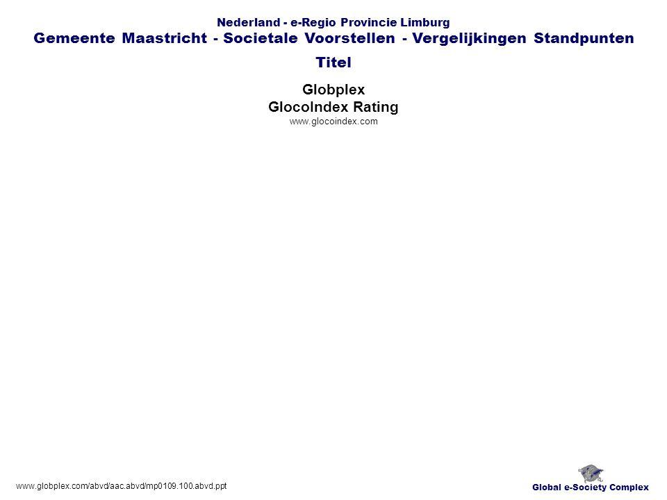 Global e-Society Complex Nederland - e-Regio Provincie Limburg Gemeente Maastricht - Societale Voorstellen - Vergelijkingen Standpunten Globplex GlocoIndex Rating www.glocoindex.com Titel www.globplex.com/abvd/aac.abvd/mp0109.100.abvd.ppt