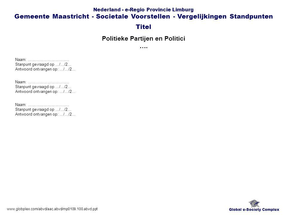 Global e-Society Complex Nederland - e-Regio Provincie Limburg Gemeente Maastricht - Societale Voorstellen - Vergelijkingen Standpunten Media Andere …..