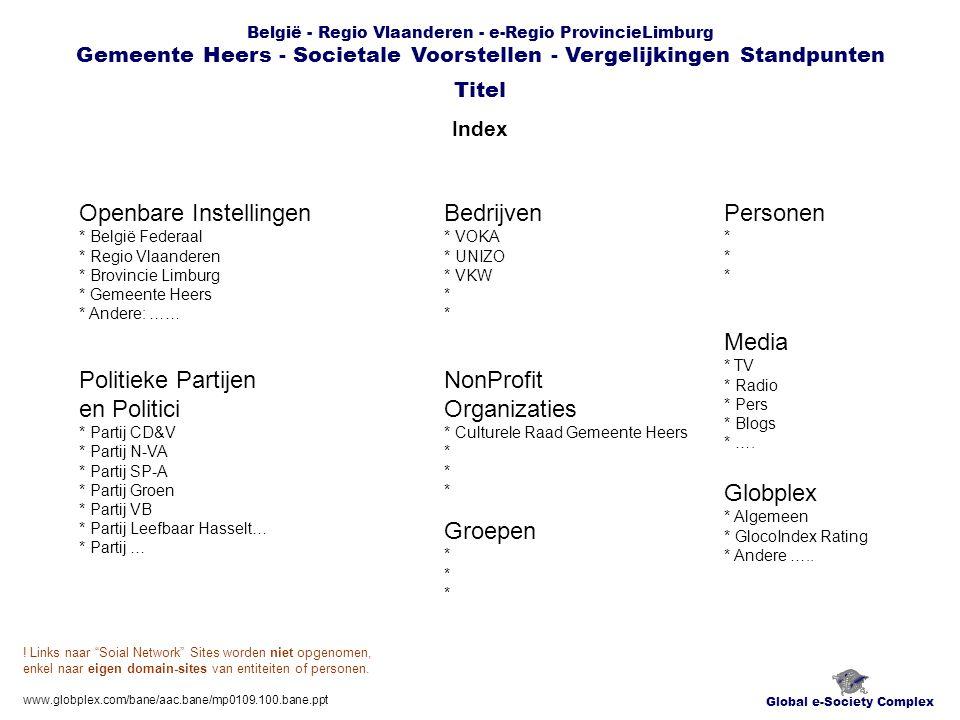 België - Regio Vlaanderen - e-Regio ProvincieLimburg Gemeente Heers - Societale Voorstellen - Vergelijkingen Standpunten Index Global e-Society Complex Titel www.globplex.com/bane/aac.bane/mp0109.100.bane.ppt Openbare Instellingen * België Federaal * Regio Vlaanderen * Brovincie Limburg * Gemeente Heers * Andere: …… Bedrijven * VOKA * UNIZO * VKW * Globplex * Algemeen * GlocoIndex Rating * Andere …..