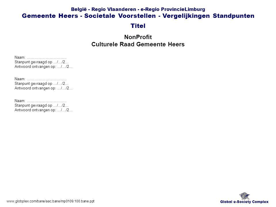 Global e-Society Complex België - Regio Vlaanderen - e-Regio ProvincieLimburg Gemeente Heers - Societale Voorstellen - Vergelijkingen Standpunten NonProfit Culturele Raad Gemeente Heers Titel www.globplex.com/bane/aac.bane/mp0109.100.bane.ppt Naam: …………………………..