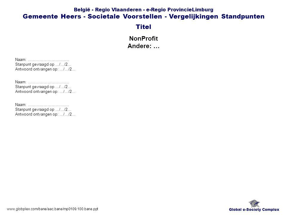 Global e-Society Complex België - Regio Vlaanderen - e-Regio ProvincieLimburg Gemeente Heers - Societale Voorstellen - Vergelijkingen Standpunten NonProfit Andere: … Titel www.globplex.com/bane/aac.bane/mp0109.100.bane.ppt Naam: …………………………..