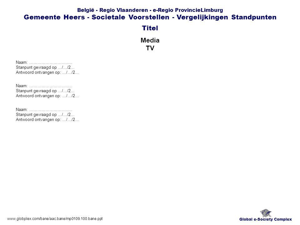 Global e-Society Complex België - Regio Vlaanderen - e-Regio ProvincieLimburg Gemeente Heers - Societale Voorstellen - Vergelijkingen Standpunten Media TV Titel www.globplex.com/bane/aac.bane/mp0109.100.bane.ppt Naam: …………………………..