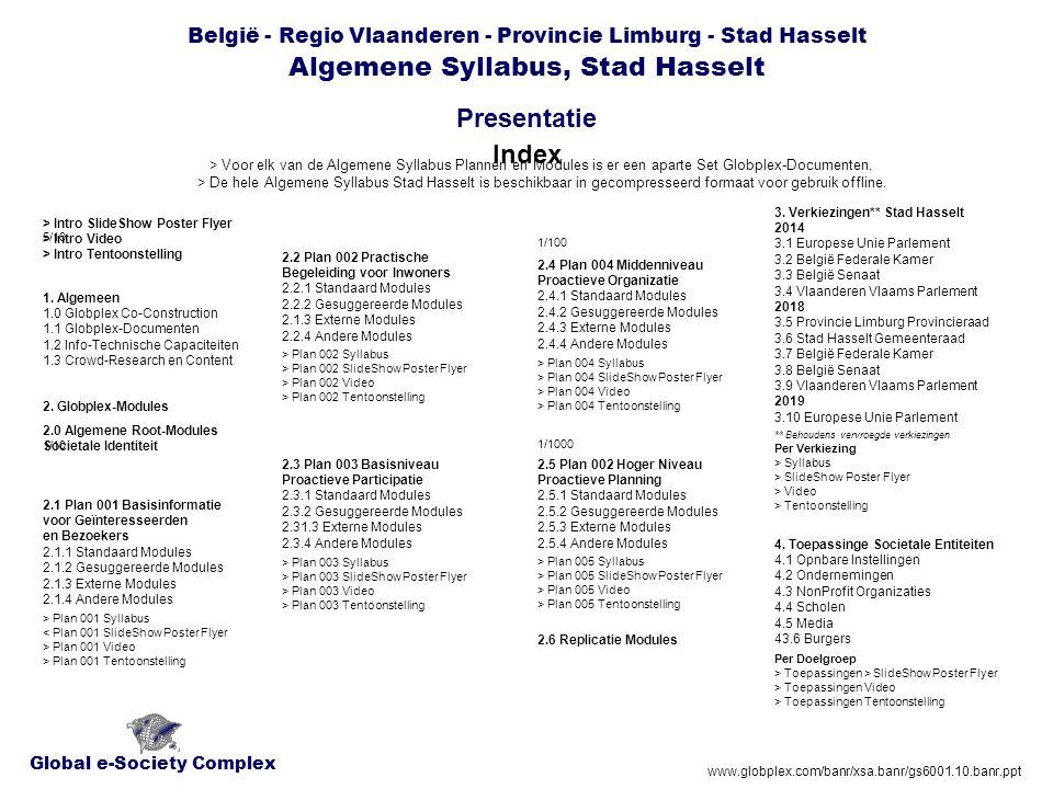Global e-Society Complex België - Regio Vlaanderen - Provincie Limburg - Stad Hasselt Algemene Syllabus, Stad Hasselt Presentatie www.globplex.com/banr/xsa.banr/gs6001.10.banr.ppt 2.4 Algemene Syllabus Plan 004 Middenniveau, Stad Hasselt Tekst Tekst > Extra Syllabus Stratensurveys