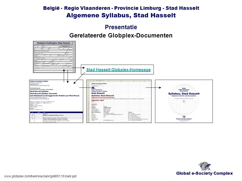 Global e-Society Complex België - Regio Vlaanderen - Provincie Limburg - Stad Hasselt Algemene Syllabus, Stad Hasselt Presentatie www.globplex.com/banr/xsa.banr/gs6001.10.banr.ppt Geo-Maps