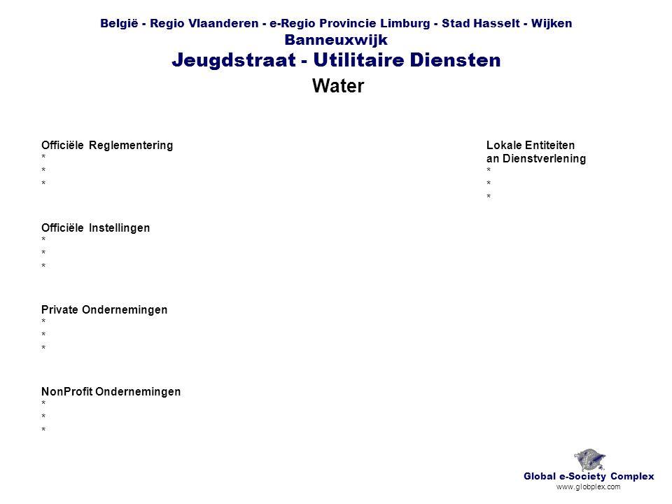 België - Regio Vlaanderen - e-Regio Provincie Limburg - Stad Hasselt - Wijken Banneuxwijk Jeugdstraat - Utilitaire Diensten Water Global e-Society Complex www.globplex.com Officiële Reglementering * Officiële Instellingen * Private Ondernemingen * NonProfit Ondernemingen * Lokale Entiteiten an Dienstverlening *