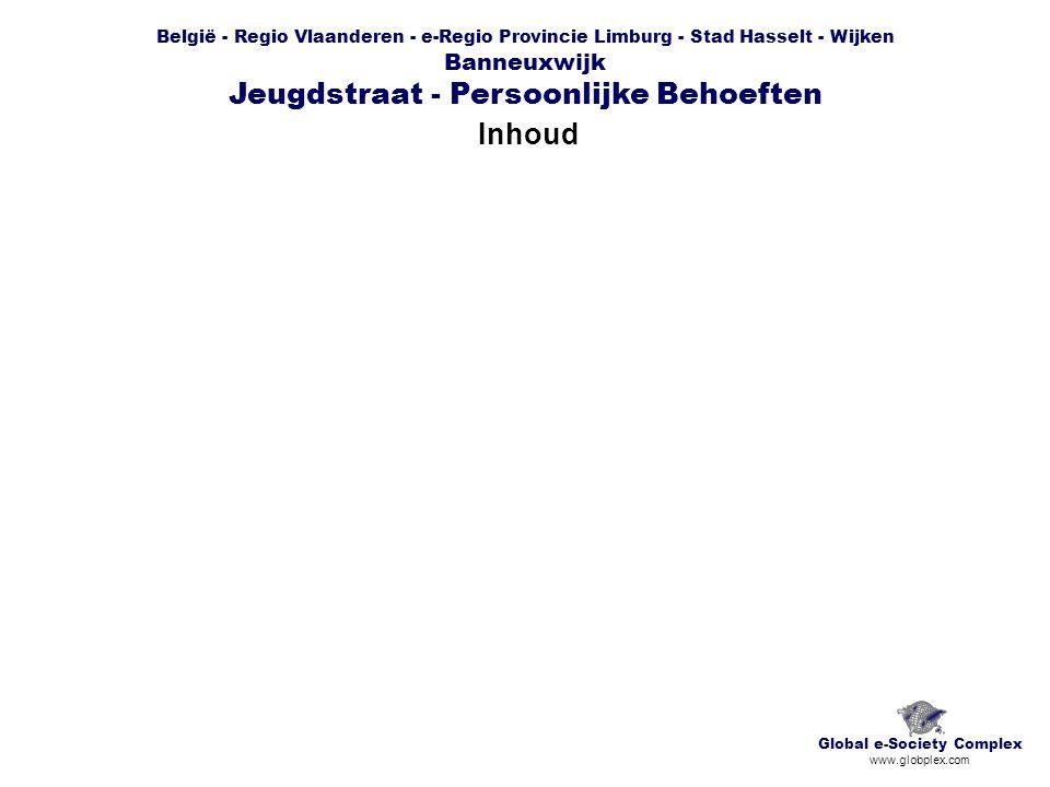 België - Regio Vlaanderen - e-Regio Provincie Limburg - Stad Hasselt - Wijken Banneuxwijk Jeugdstraat - Persoonlijke Behoeften Inhoud Global e-Society