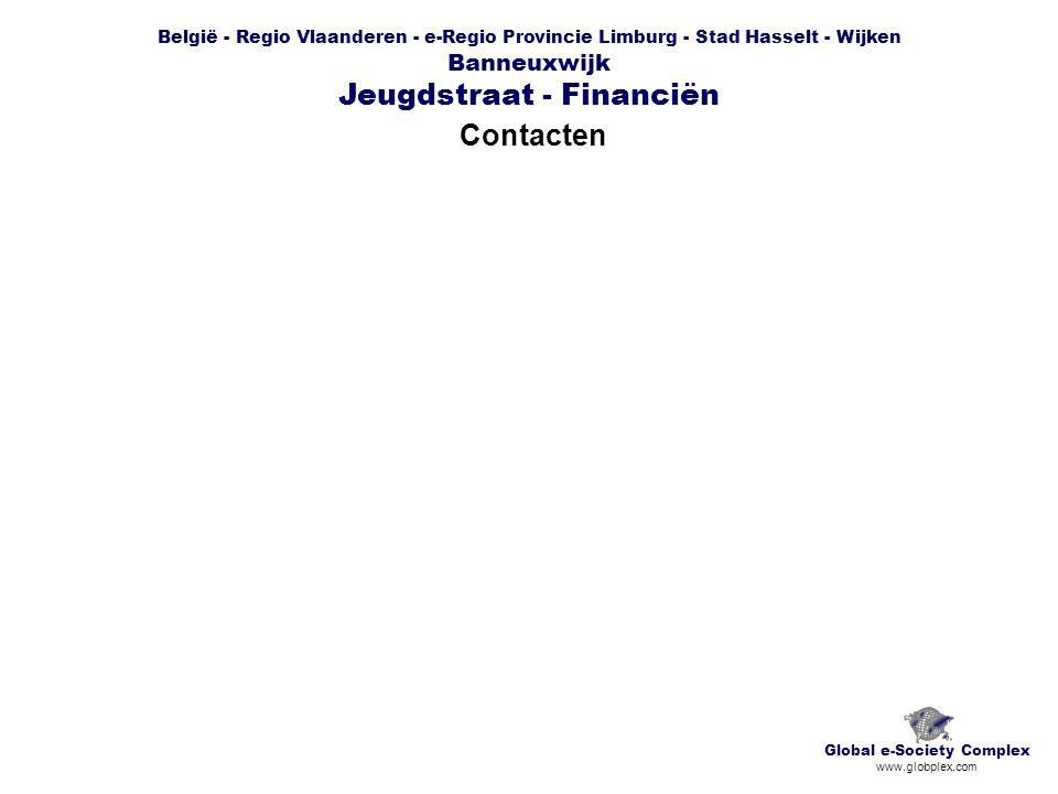 België - Regio Vlaanderen - e-Regio Provincie Limburg - Stad Hasselt - Wijken Banneuxwijk Jeugdstraat - Financiën Contacten Global e-Society Complex www.globplex.com