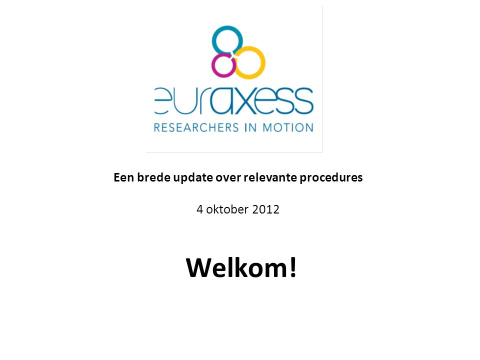 Een brede update over relevante procedures 4 oktober 2012 Welkom!
