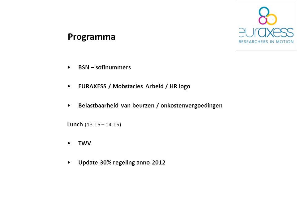 Programma BSN – sofinummers EURAXESS / Mobstacles Arbeid / HR logo Belastbaarheid van beurzen / onkostenvergoedingen Lunch (13.15 – 14.15) TWV Update 30% regeling anno 2012
