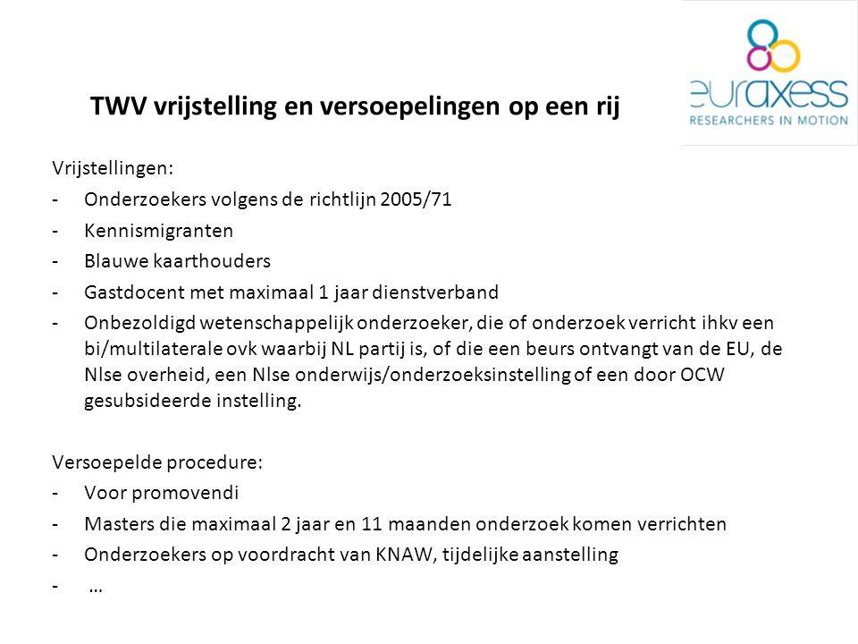 TWV vrijstelling en versoepelingen op een rij Vrijstellingen: -Onderzoekers volgens de richtlijn 2005/71 -Kennismigranten -Blauwe kaarthouders -Gastdocent met maximaal 1 jaar dienstverband -Onbezoldigd wetenschappelijk onderzoeker, die of onderzoek verricht ihkv een bi/multilaterale ovk waarbij NL partij is, of die een beurs ontvangt van de EU, de Nlse overheid, een Nlse onderwijs/onderzoeksinstelling of een door OCW gesubsideerde instelling.