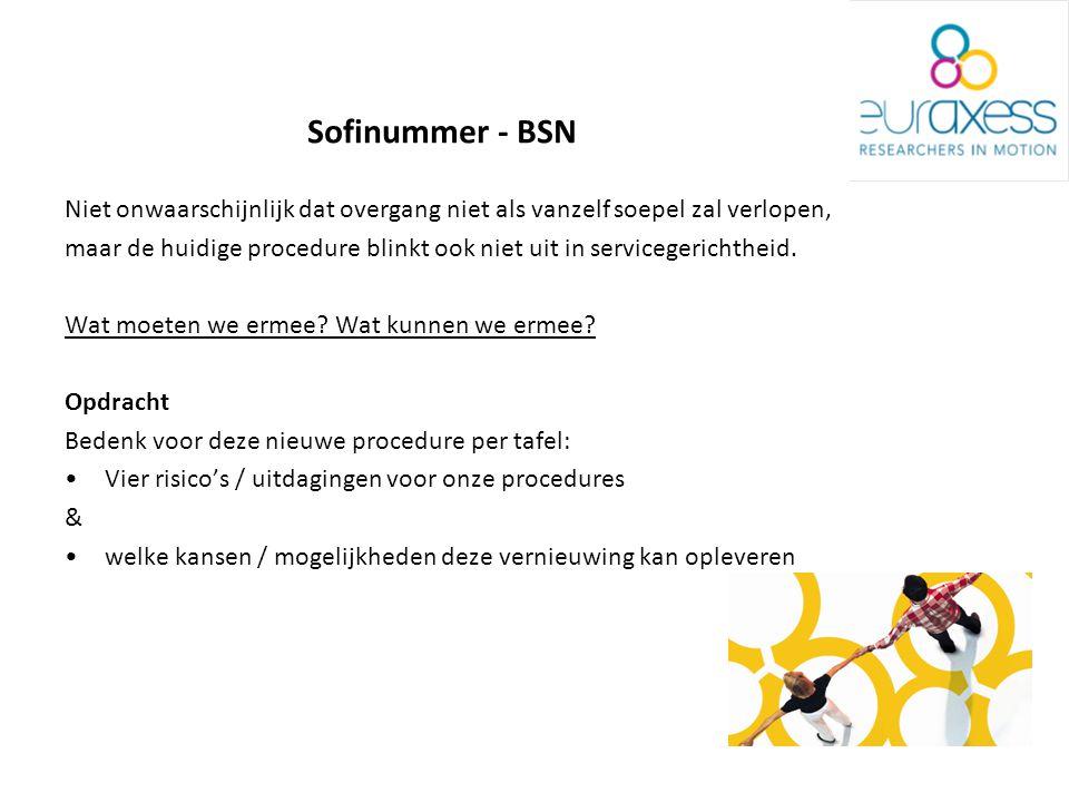 Sofinummer - BSN Niet onwaarschijnlijk dat overgang niet als vanzelf soepel zal verlopen, maar de huidige procedure blinkt ook niet uit in servicegerichtheid.