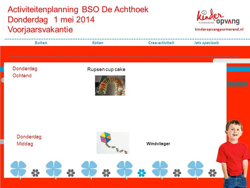 Activiteitenplanning BSO De Achthoek Vrijdag 2 mei 2014 Voorjaarsvakantie Vrijdag ochtend Koken Crea-activiteit Maandag Middag kinderopvangpurmerend.nl Buiten Wie voert het uit.
