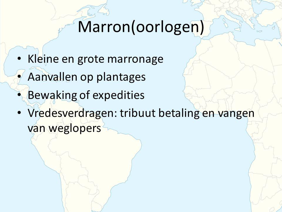 Marron(oorlogen) Kleine en grote marronage Aanvallen op plantages Bewaking of expedities Vredesverdragen: tribuut betaling en vangen van weglopers